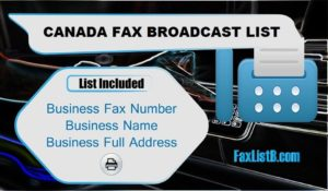 CANADA FAX BROADCAST LIST